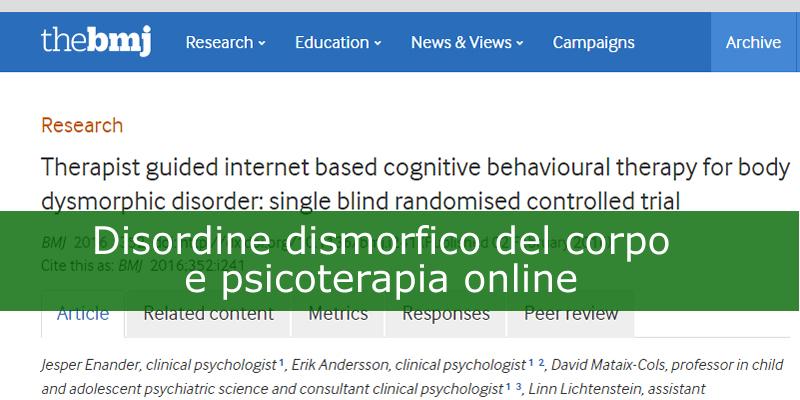 Disordine dismorfico del corpo e psicoterapia online