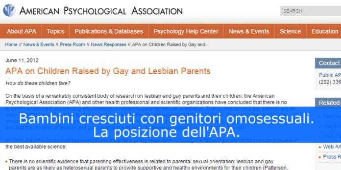 Bambini cresciuti con genitori omosessuali. La posizione dell'APA.